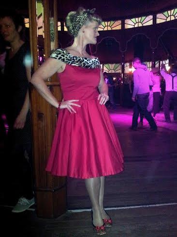 red faux fur leopard rockabilly dress