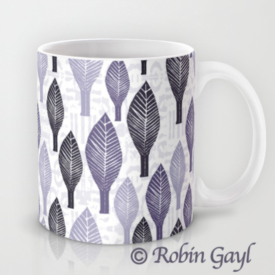 Leaves, illustrated leaves, stamped leaves, lavender, white, black, gray, nature, mug
