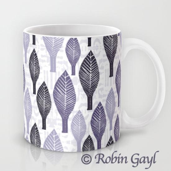 Leaves, illustrated leaves, stamped leaves, lavender, white, black, gray, nature, mug
