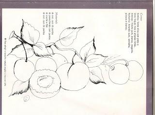 Risco para pintura em tecido com, pêssegos e ameixas
