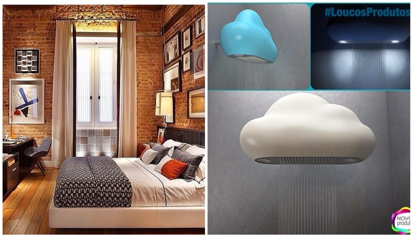 parede com tijolos aparentes @interioresdesigndecoracao e chuveiro em formato de nuvem @novosprodutos