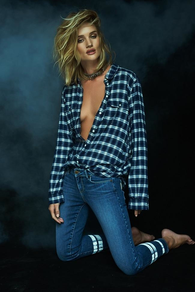 rosie huntington whiteley paige denim fall 2015 collection plaid shirt stripe jeans blonde bob hairstyle lob
