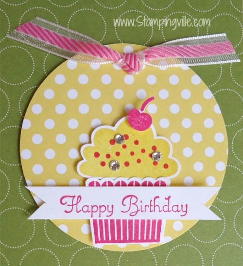 Cute cupcake stamp set and matching punch. #birthday #cardmaking #StampinUp #Stampingville