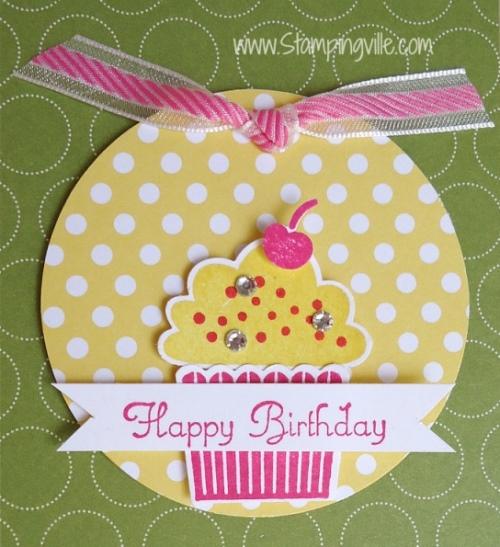 Cute cupcake stamp set and matching punch. #birthday #cardmaking #StampinUp #Stampingville