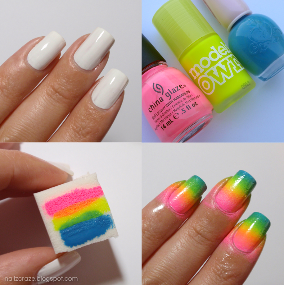 Ombre Nail Art: Neon Rainbow Gradient And Swirly Stamping