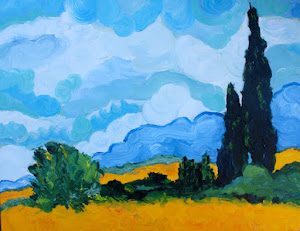 Cypress Trees, After Van Gogh