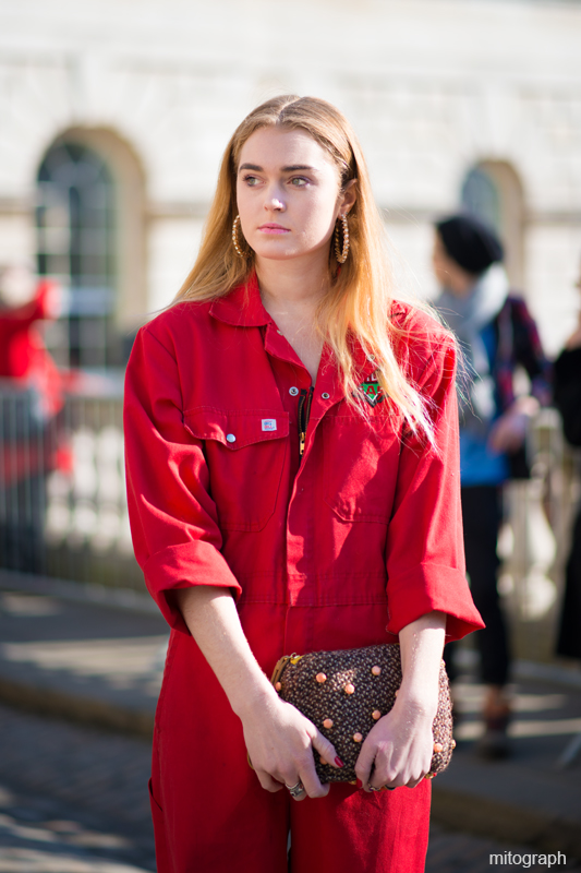 mitograph Woman Red Jump Suit London Fashion Week 2013 2014 Fall Winter LFW Street Style Shimpei Mito