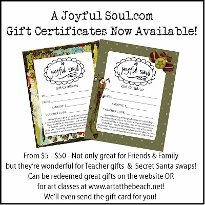 Gift Certificates - A Joyful Soul.com and Art At the Beach.net