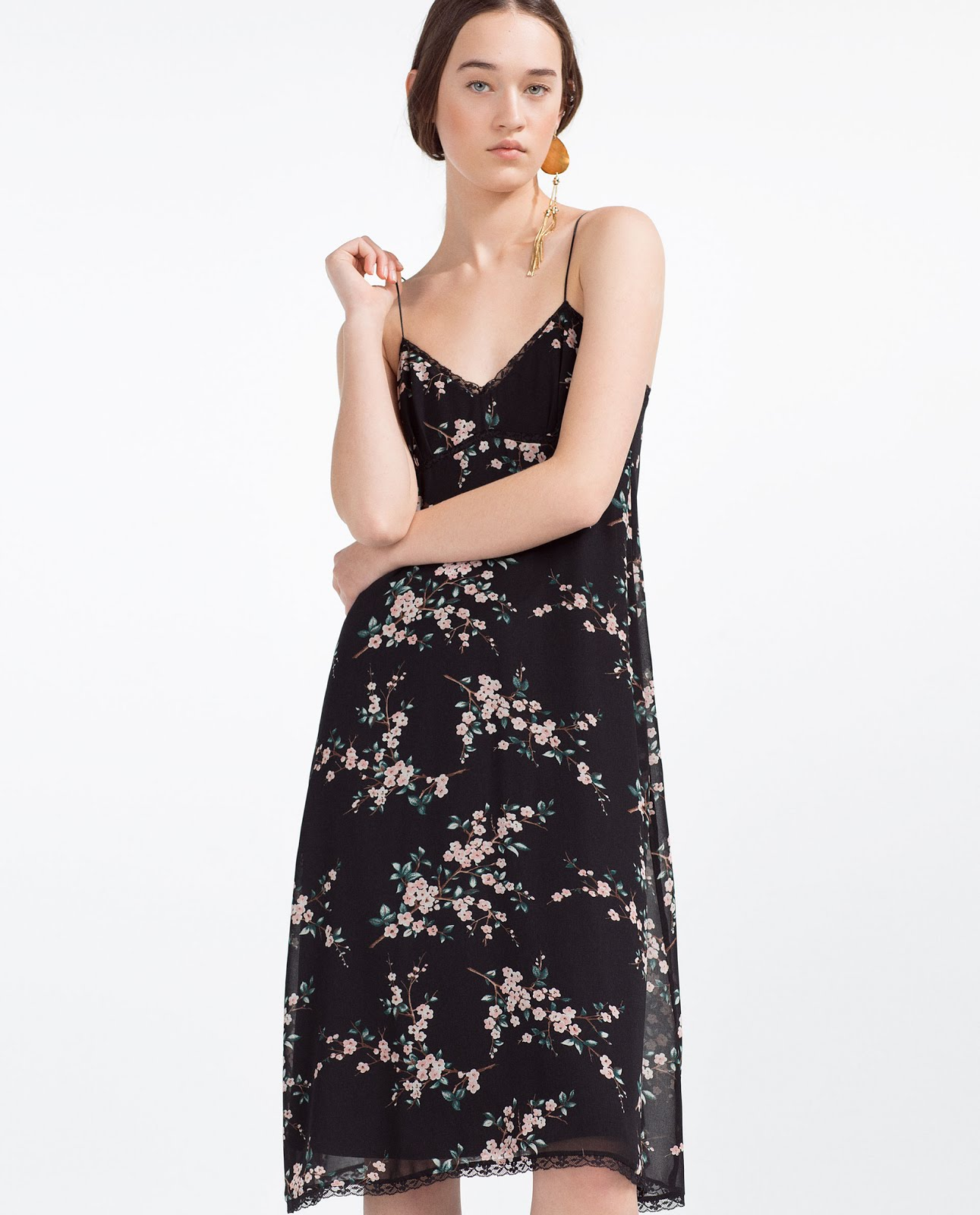 T shirt under dress -  Below Under A Jumper Bomber Or Cardigan Or Try A T Shirt Under It For This Summers 90 S Trend Zara Floral Camisole Dress 19 99 Worth Checking Store