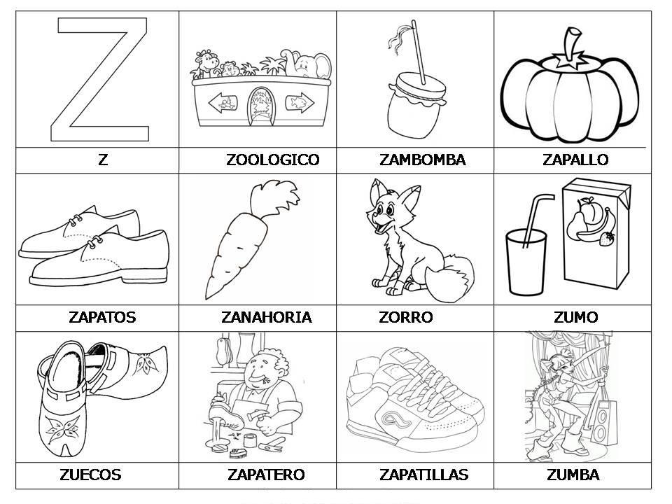 Laminas con dibujos para aprender palabras y colorear con letra: Z