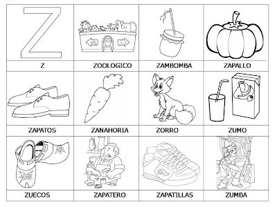 para aprender palabras y colorear con letra: Z ~ Dibujos para Colorear
