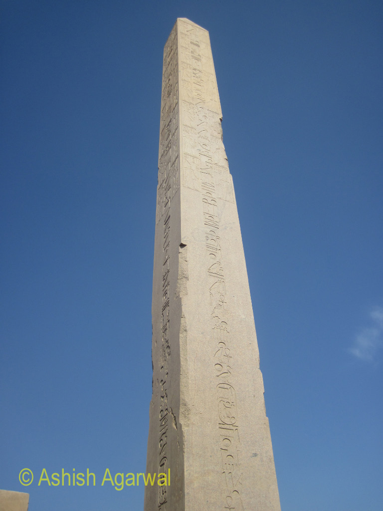 Close up view of the Obelisk at the Karnak temple in Luxor