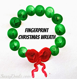 fingerprint christmas wreath craft for kids
