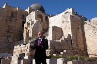 Glenn Beck talks during his 'Restoring Courage' rally in an archaeological park in Jerusalem's Old City,, Israel, August 24, 2011.