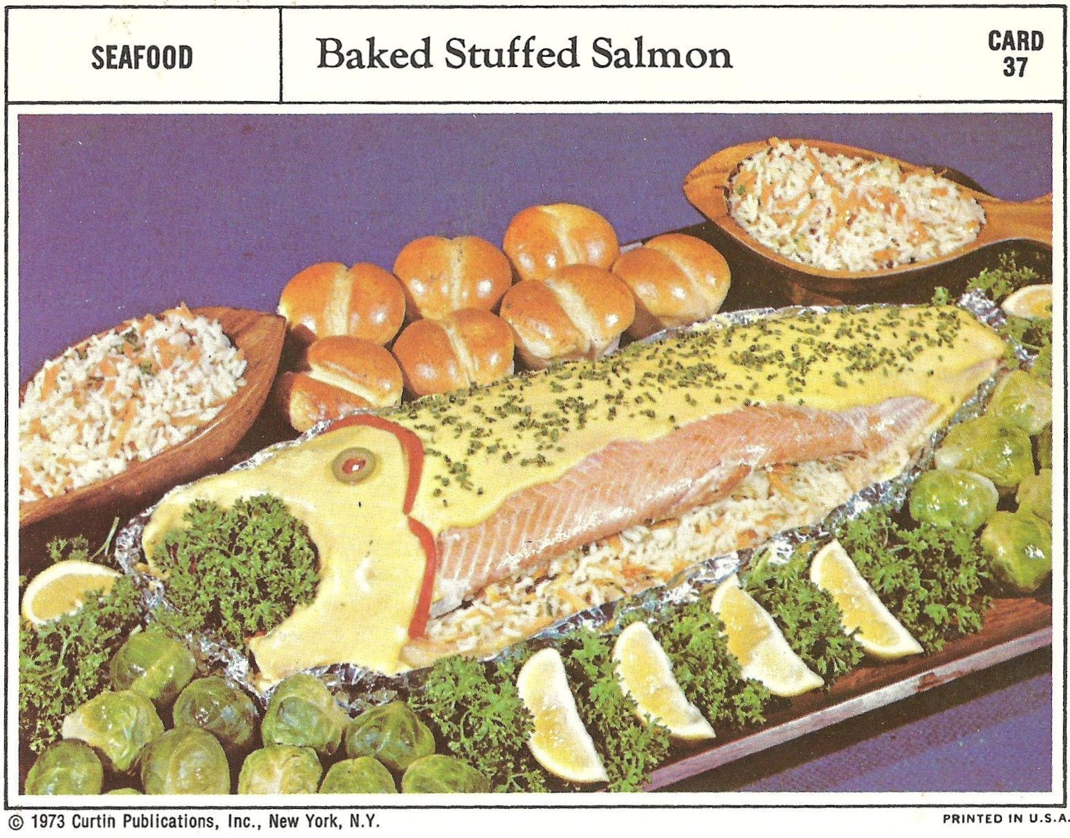 Bad and ugly of retro food sheesh recipe cards 14 this is demented on so many levels theres a salmon with a pimento eye and a fake mouth gagging on parsley not to mention the weird yellow sauce to forumfinder Gallery