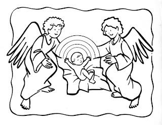 Niño jesús con angeles para colorear