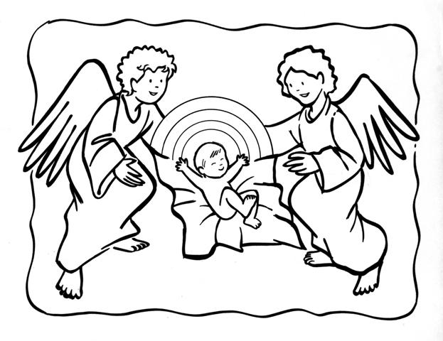 Dibujos Católicos : Niño jesús con angeles para colorear