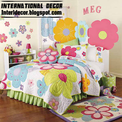 stylish girls bedroom ideas, flower girls bedding, colored girls bedding