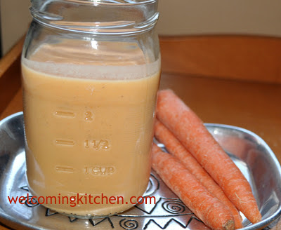 Gluten-free, vegan carrot and sweet potato yogurt smoothie