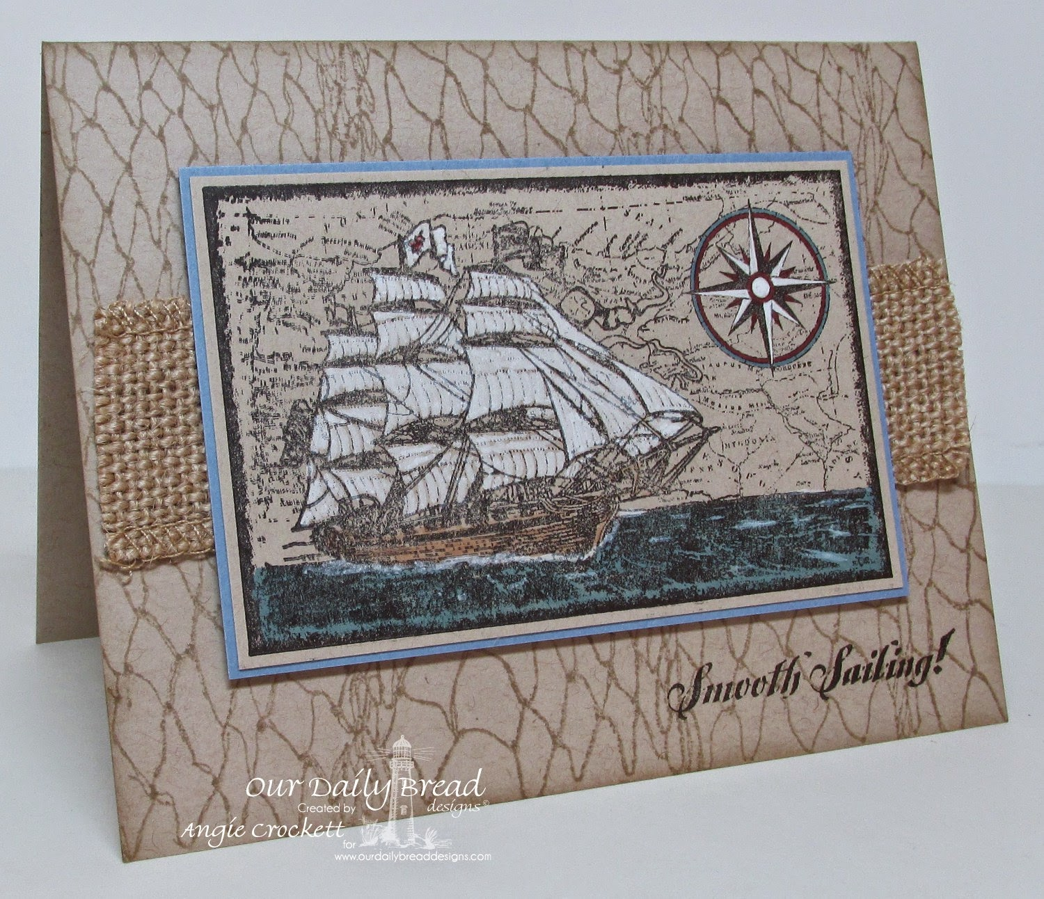 ODBD Surging Sea, Smooth Sailing, Fishing Net Background, Card Designer Angie Crockett