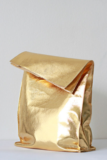 gold bag, baroque lunch bag