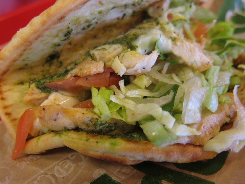 Review: Quiznos - Basil Pesto Chicken Grilled Flatbread | Brand Eating