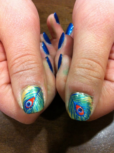 tip top nails peacock feathers