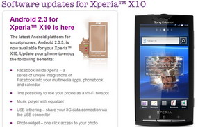 Android 2.3 for Xperia X10 Firmware update soon