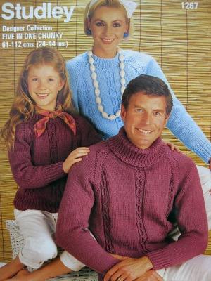 80s Knitting pattern - chunky knit sweaters