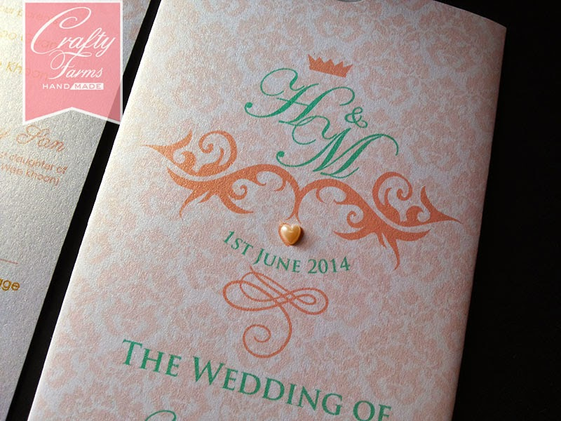 Peach, Mint and Gold Theme Wedding Cards | Crafty Farms Handmade