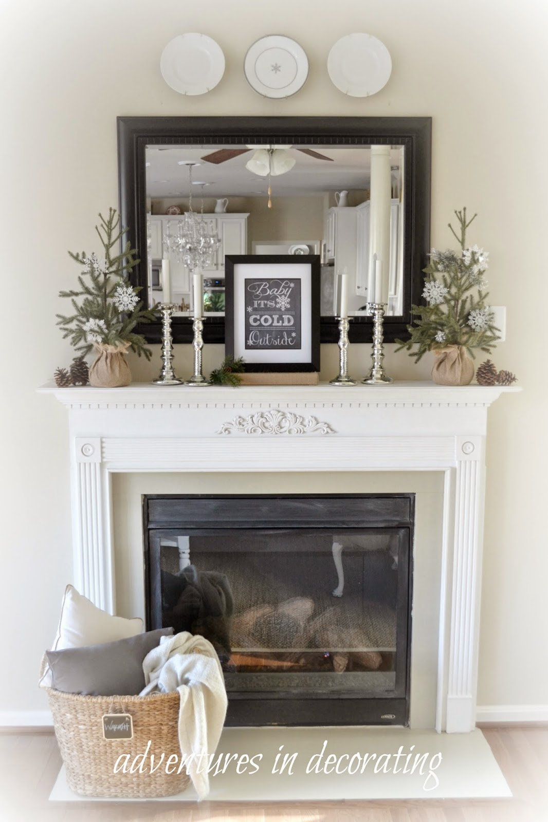 Adventures in decorating our winter great room - Decorating ideas for fireplace walls ...