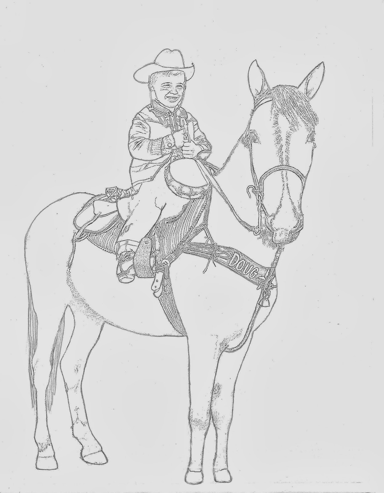Western Coloring Pages Cowboy Doug On Horse Coloring Page By
