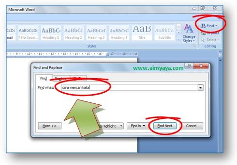 gambar akses toolbar find dan memunculkan dialog find