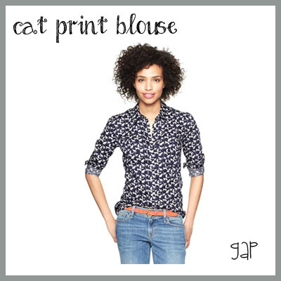 gap cat print blouse