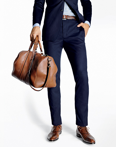 Navy Blue Suit Brown Shoes With