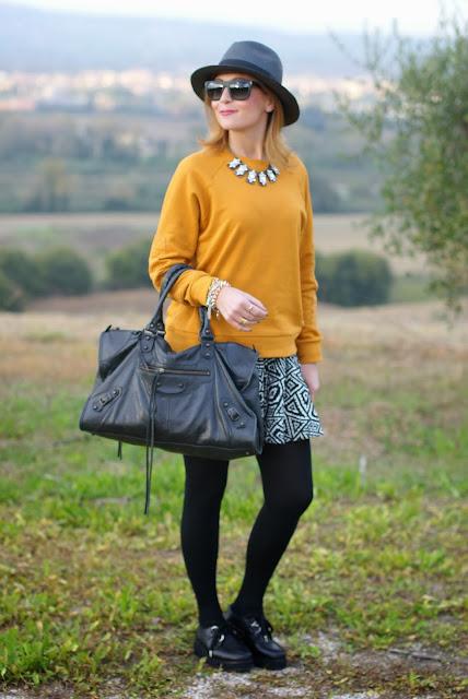 outfits, mustard sweatshirt, penelope flatform creepers, ecua-andino panama hat, black panama hat, fashion and cookies, fashion blogger