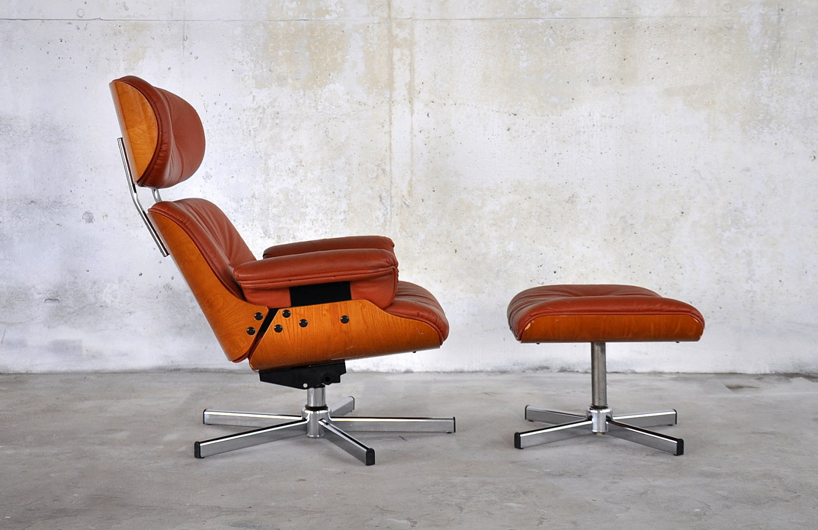 Eames style selig lounge chair with ottoman home for Chaise haute style eames