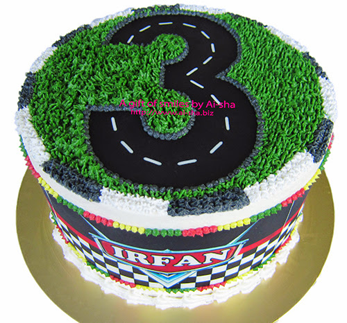 Race track theme 3rd Birthday Cake