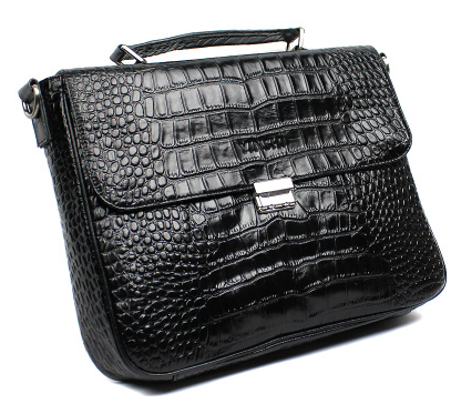 Mens Modern Crocodile Pattern Leather Briefcase
