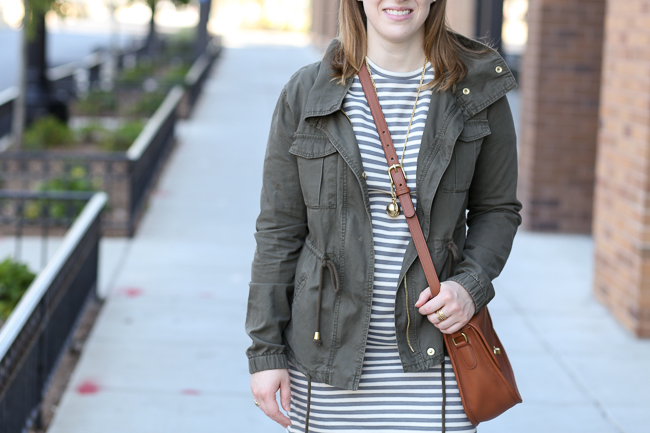 utility jacket, field jacket, old navy jacket, topshop striped sweater dress, converse, saddle bag