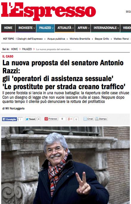 http://espresso.repubblica.it/palazzo/2014/03/31/news/la-nuova-proposta-del-senatore-antonio-razzi-gli-operatori-di-assistenza-sessuale-le-prostitute-per-strada-creano-traffico-1.159056