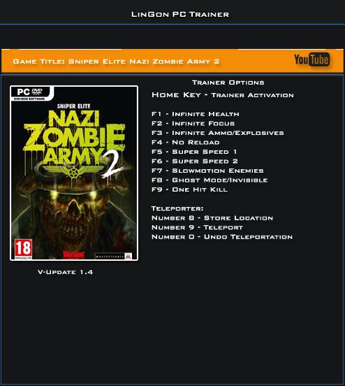 Sniper Elite Nazi Zombie Army 2 v1.4 Trainer +10 [LinGon]