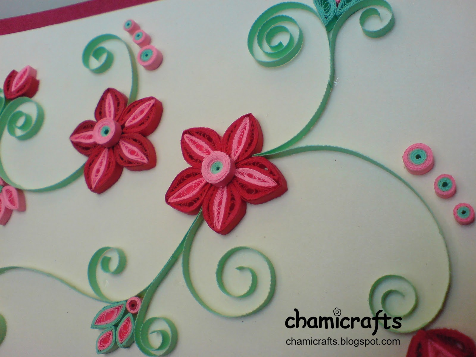 Chami Crafts Handmade Greeting Cards Red And Pink With Green