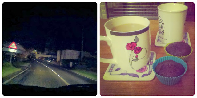 Driving in the rain - A nice cake and cup of tea