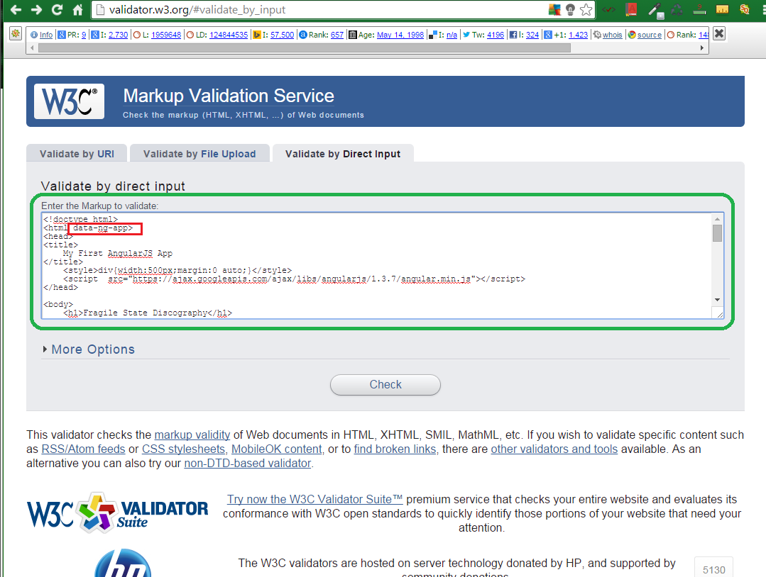 W3C Free Tool for HTML5 Markup Validation 8