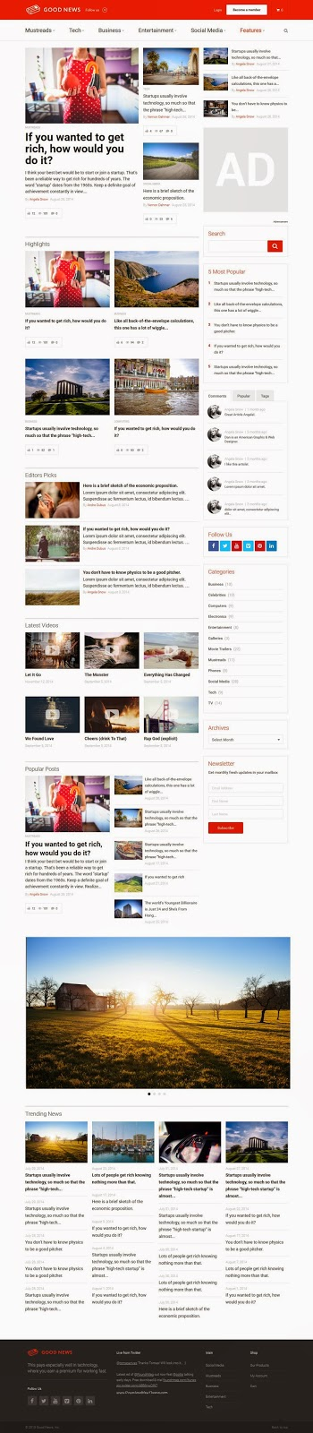 Free Responsive News Magazine Blog WP Theme 2015
