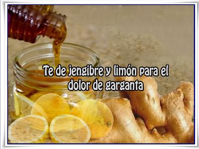 Remedios y  tratamientos, dolor garganta, te, limón, jengibre