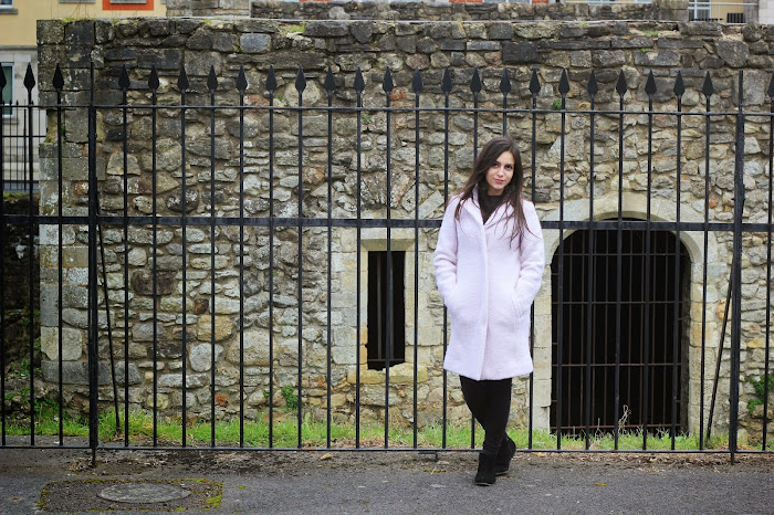 Pink Wool Coat New Look Southampton old town wall ruins Nevena Krstic gardens sightseeing