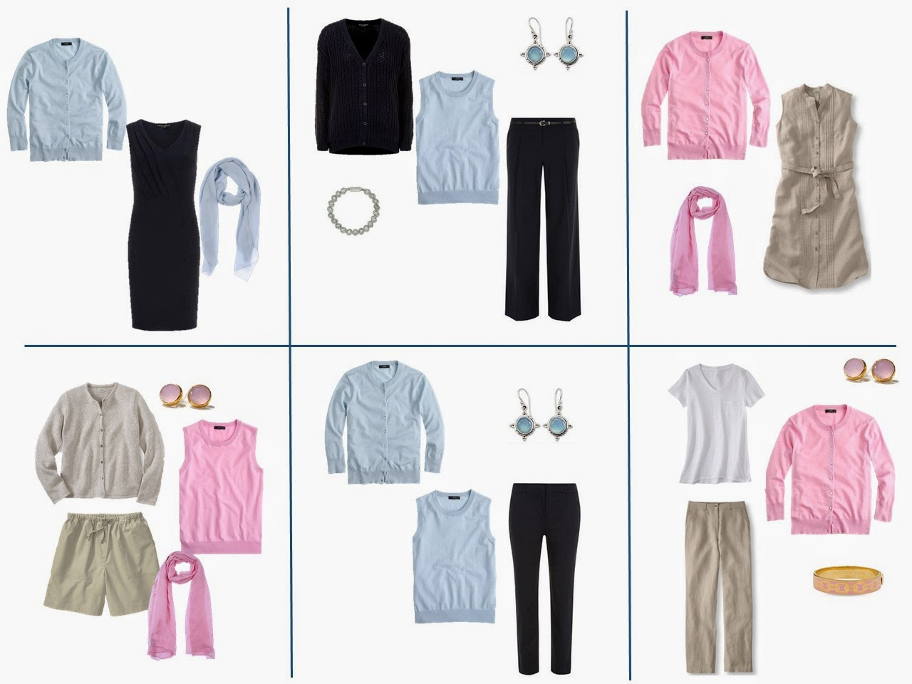 six outfits taken from a travel capsule wardrobe of navy,khaki, pink and light blue