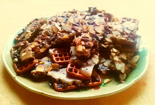 Chocolate pretzel almond toffee